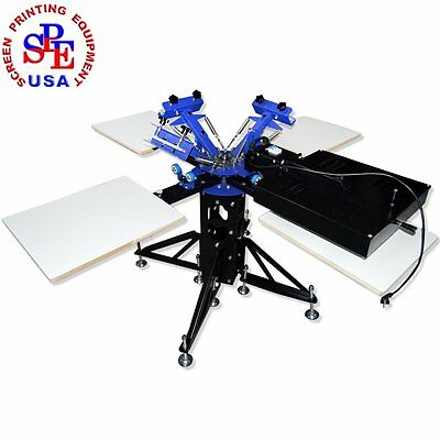 3Color 4 Station with Dryer Screen Printing Press Equipment Printer Machine Silk