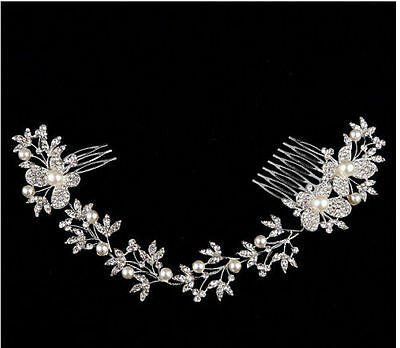 2016 Sparkly Beads Bridal Headband With Comb Pearl Wedding Hair Accessories