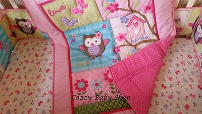 Baby Bedding Set 7 Pc Crib Cot Quilt Set Pink Owl Quilt Bumpers Nappy Stacker