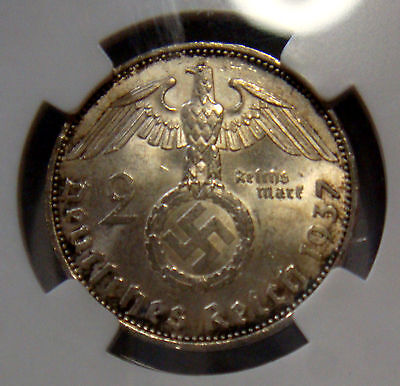 GERMANY 1937A 2 REICHSMARKS HINDENBURG SWASTIKA MS63 NGC SLABBED ChU