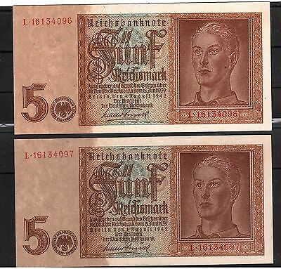 Germany 5 Reichsmark 1 August 1942 Nazi Swastika & Boy Consecutive Numbers Unc