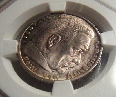 Deutches Reich / Germany 1936E 5 Mark Silver Nazi .900 Ngc Uncirculated Details