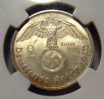GERMANY 1939A 2 REICHSMARKS HINDENBURG SWASTIKA MS63 NGC SLABBED ChU