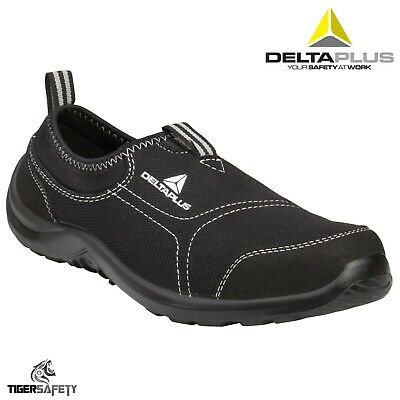 Delta Plus Panoply Miami Ladies Black Canvas Slip On Steel Toe Safety Trainers