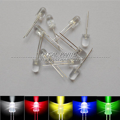 100pcs 3mm White Green Red Blue Yellow LED Light Bulb Emitting Diode Lamp M277