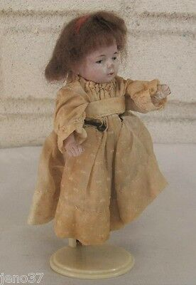 Delightful Antique Small Jointed Bisque? Doll with Old Wig May Be Original