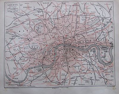 LONDON 1878 original alter Stadtplan antik antique city map Lithographie England