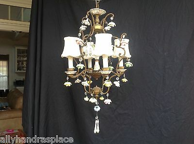 Vintage French Bronze Bird Cage Crystal Beaded Porcelain Roses Flower Chandelier