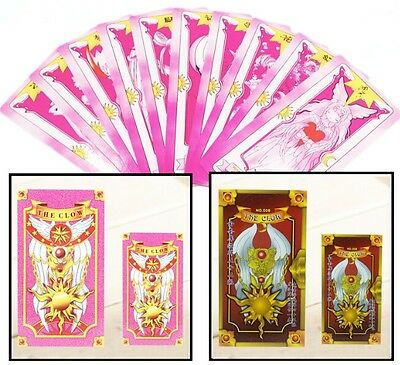 One Set Cosplay Card Captor Sakura Pink Clow with 56 Tarot Playing Cards