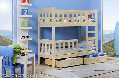 Small Bunk Bed Pine Solid Wooden Mattresses & Storage