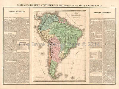 South America Antique Map Buchon 1825 Original