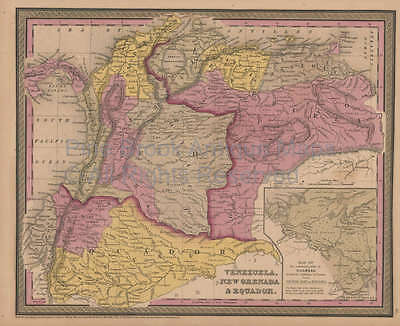 Venezuela Colombia Antique Map Mitchell Cowperthwait 1852 Original
