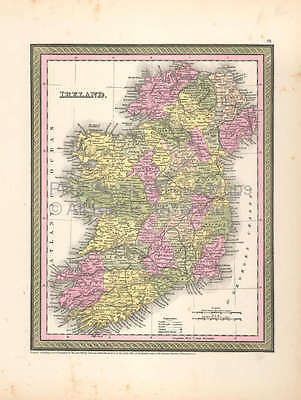 Ireland Vintage Map DeSilver 1855 Original