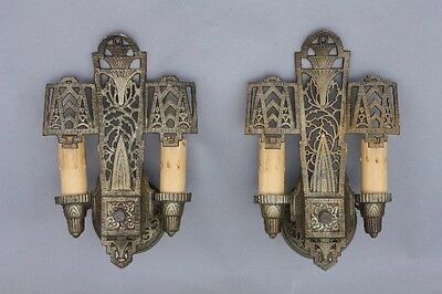 Pair 1920s Art Deco Double Light Sconces Antique Nouveau Vintage Lighting (9078)