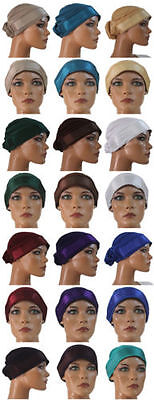 wholesale lot of 12 Designer Hijab underscarf  caps bonnet Satin  Headbands