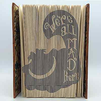 Book Folding Pattern - Cut & Fold - Cheshire Cat, We're all mad here