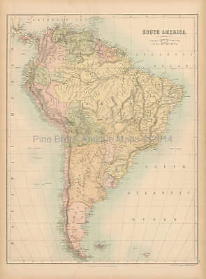 South America Antique Map Black 1867 Original