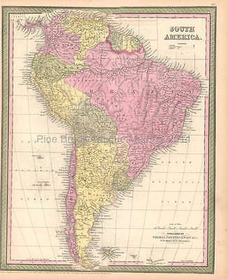 South American Continent Antique Map DeSilver 1855 Original