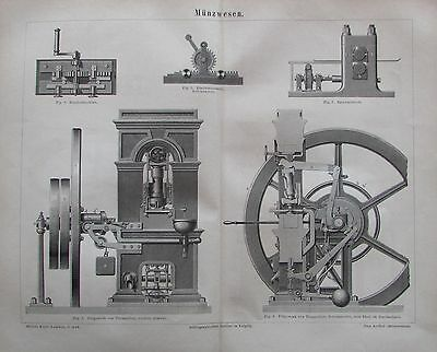 1878 MÜNZWESEN Original alter Druck antik antique print Lithographie
