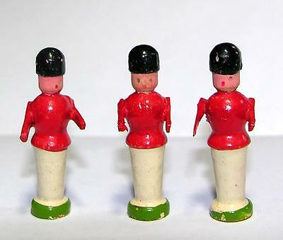 3 Tiny Vtg Miniature Wood Erzgebirge Germany Red Coat Soldier Figures, Xmas Putz