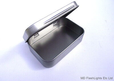 Mini Silver Hinged Tobacco/survival Kit Tin Ideal For Tinder Kits Bushcraft Kits