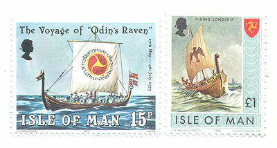 Viking Ships Isle of Man 2 values mnh