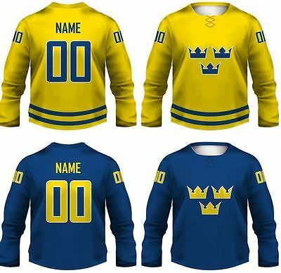 2015 Team Sweden Replica Ice Hockey Jersey/Adult+Youth Sizes/Custom Name