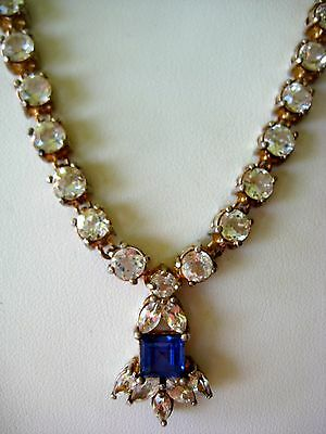 """Bold Sterling Silver Clear & Blue Sz Stones Or Crystals 52.4 Gr Necklace 19 1/4"""""""