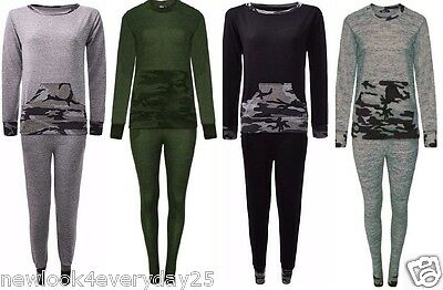 Women Ladies Contrast Loungwear Camouflage&Army Two Peice Set Tracksuit UK(8-26)