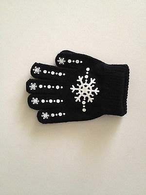 Black Knit Magic Ice skating Snowflake printed gloves