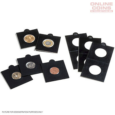"""Lighthouse BLACK 35mm Self Adhesive 2""""x2"""" MATRIX Coin Holders x 25 - Suit  50c"""