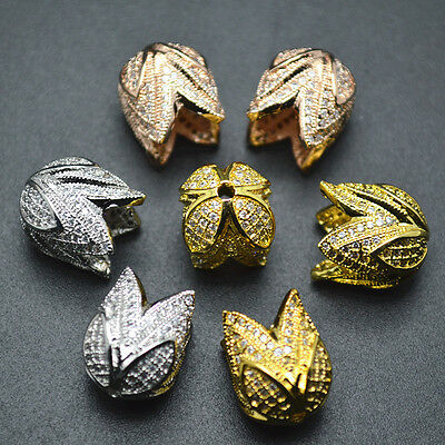 1pc Paved CZ Double Layer Flower Shape Metal Bead Caps Tassel Jewelry Findings