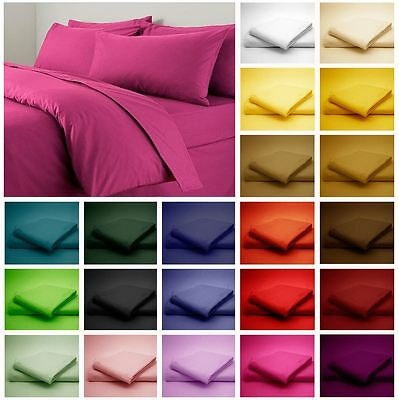 Dyed Matching Colour Plain Fitted Bed Sheets Size Single Double King Super King