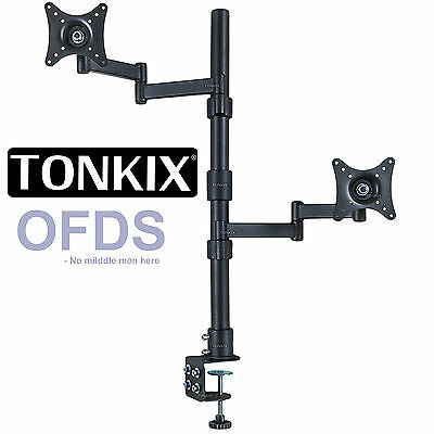 Vertical dual monitor stand 2 4 6 quad LED LCD double single bracket clamp mount