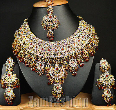 Indian Traditional Kundan Gold Plated E06 Coffee Jewellery Necklace Set