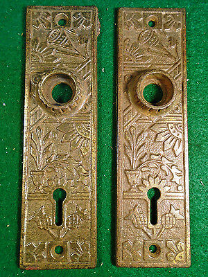 Pair Vintage Cast Iron Eastlake Backplates     (3400-83)