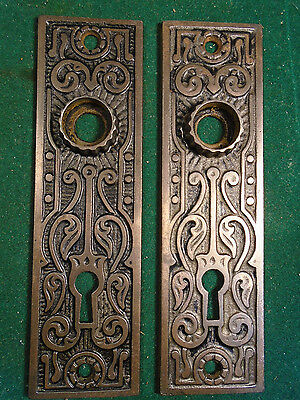 Pair Vintage Cast Iron Eastlake Backplates   - Very Nice Clean Set  (5420)