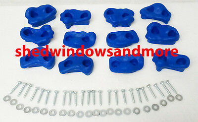 Rock Holds Blue Color Set of 12 W/hardware Rock Wall Climbing Rocks Playgrounds