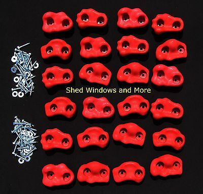 Rock Holds Set of 24 Red Color, Climbing Rock Holds, Playset Rock Wall