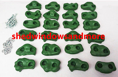 Rock Holds Set of 24 GREEN Color, Climbing Rock Playgrounds, Playset Rock Wall
