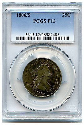 1806/5 Draped Bust Quarter Pcgs F12 Strong Overdate Solid Coin Price Drop!!