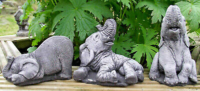 The Small Elephant Set 3 piece Hand Cast Stone Garden Ornament - Max Size 12 cms