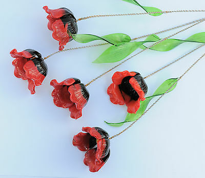 Red Wild poppies Glass Flowers Handmade HOME Ornament from Czech Republic