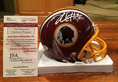 Jordan Reed Autographed Washington Redskins Riddell Mini Helmet Witness JSA