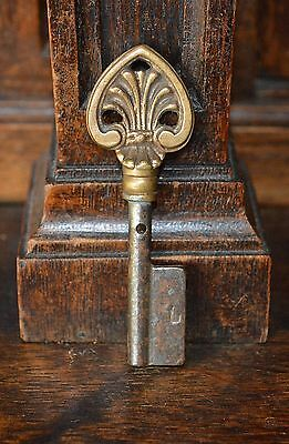 Antique French Ornate Bronze Key Blank Uncut Spade