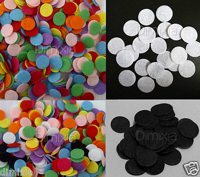 White Black Mixed Colour 15mm Round Circle Padded Felt Craft Patch Pad DIY 1.5cm