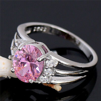 Wedding silver graceful pink cubic zirconia lady's ring size 6-10