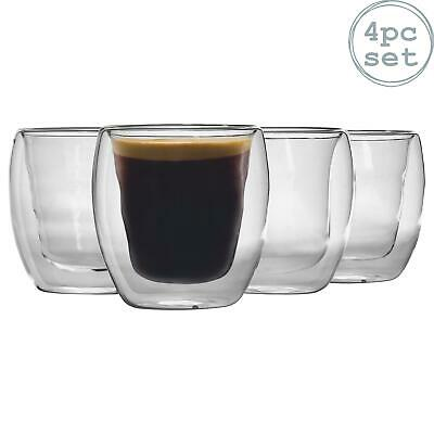 Double Walled Thermo Insulated Cappuccino Coffee Tumblers 220ml. Gift Box of 4