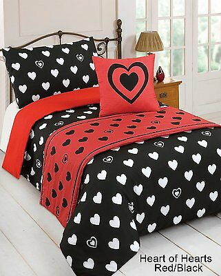 Heart of Hearts Red/Black Single Duvet Quilt Set Bed in a Bag Cushion Cover Runn