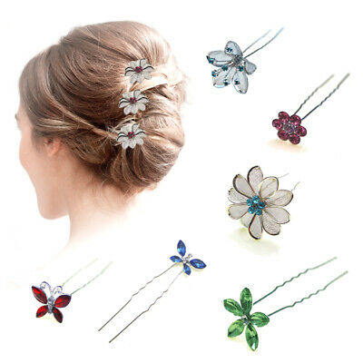 Hair Pins Girls Bridesmaid Accessories Prom Crystal Clips Pieces Diamante Slides